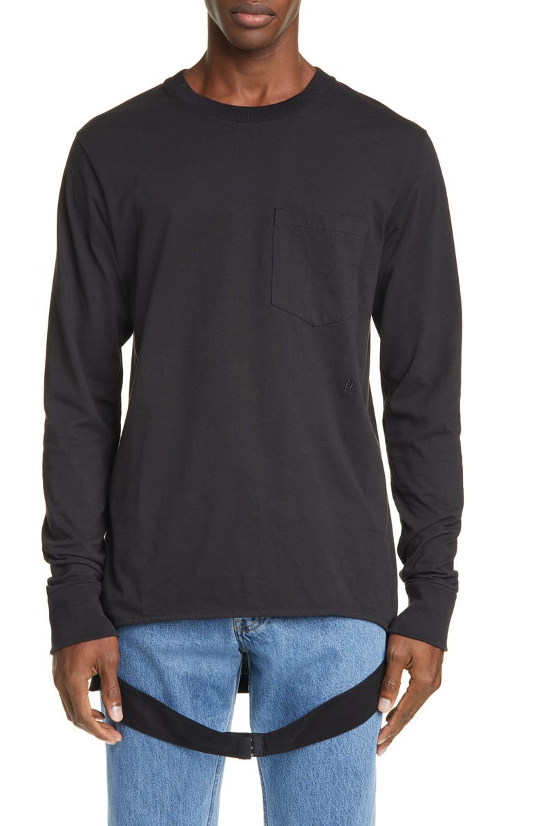 HELMUT HELMUT LANG Helmut Lang Belted Long Sleeve Pocket T-Shirt, Main, color, BASALT BLACK