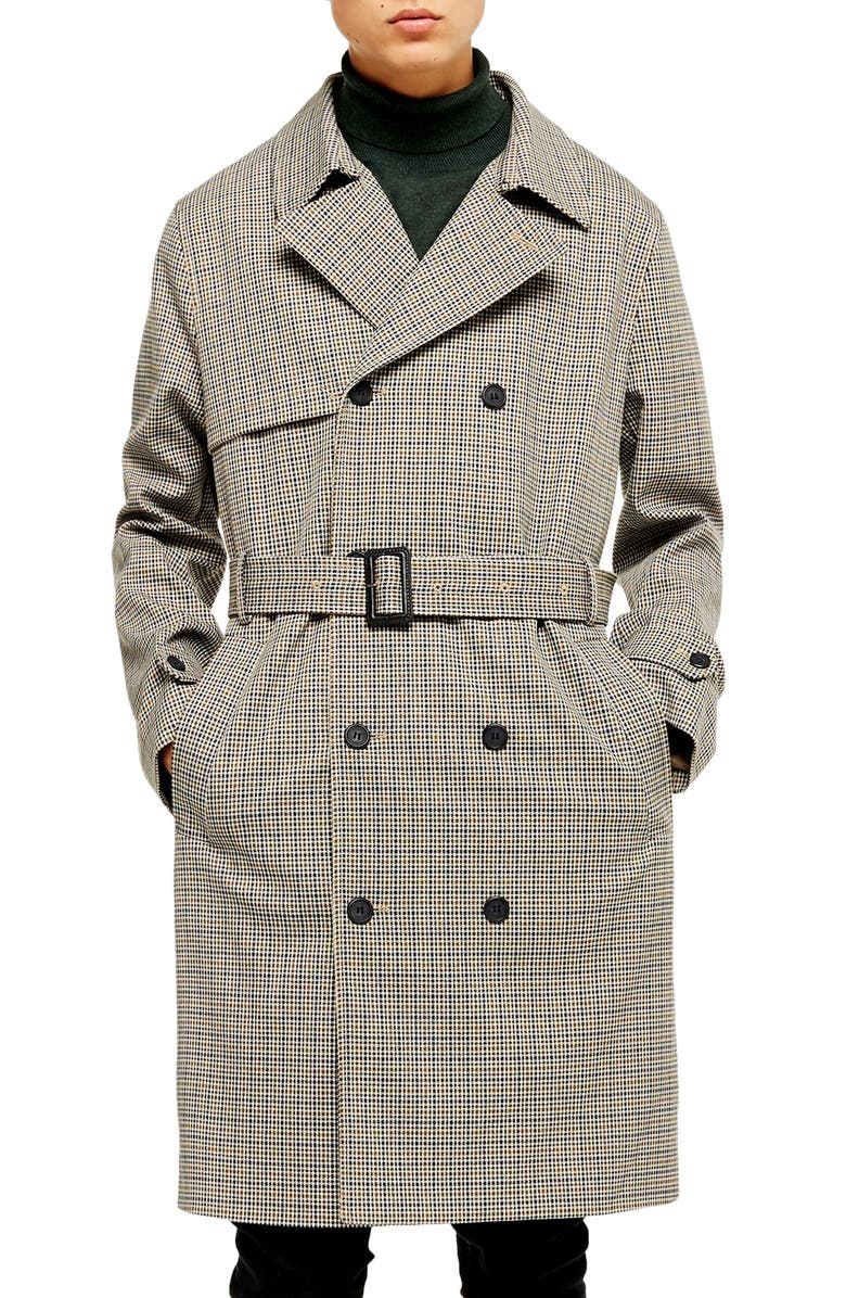 TOPMAN Houndstooth Double Breasted Trench Coat, Main, color, 250