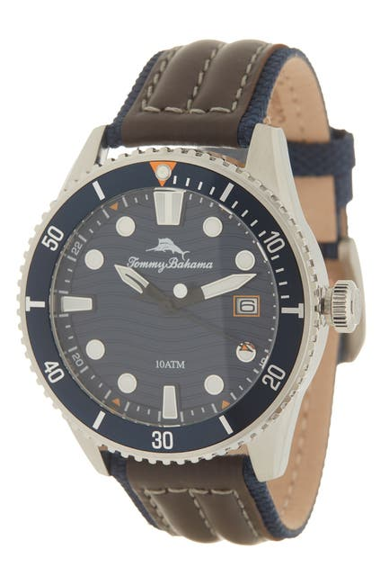 Image of Tommy Bahama Men's Ocean Waves Diver Leather Strap Watch, 48mm