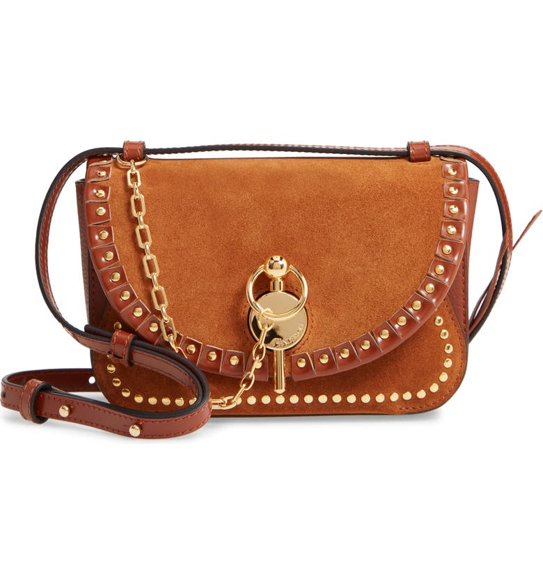 JW ANDERSON The Sporran Midi Keyts Suede & Leather Shoulder Bag, Main, color, TOFFEE