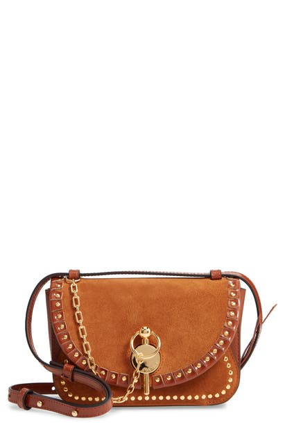 J.w.anderson THE SPORRAN MIDI KEYTS SUEDE & LEATHER SHOULDER BAG - BROWN