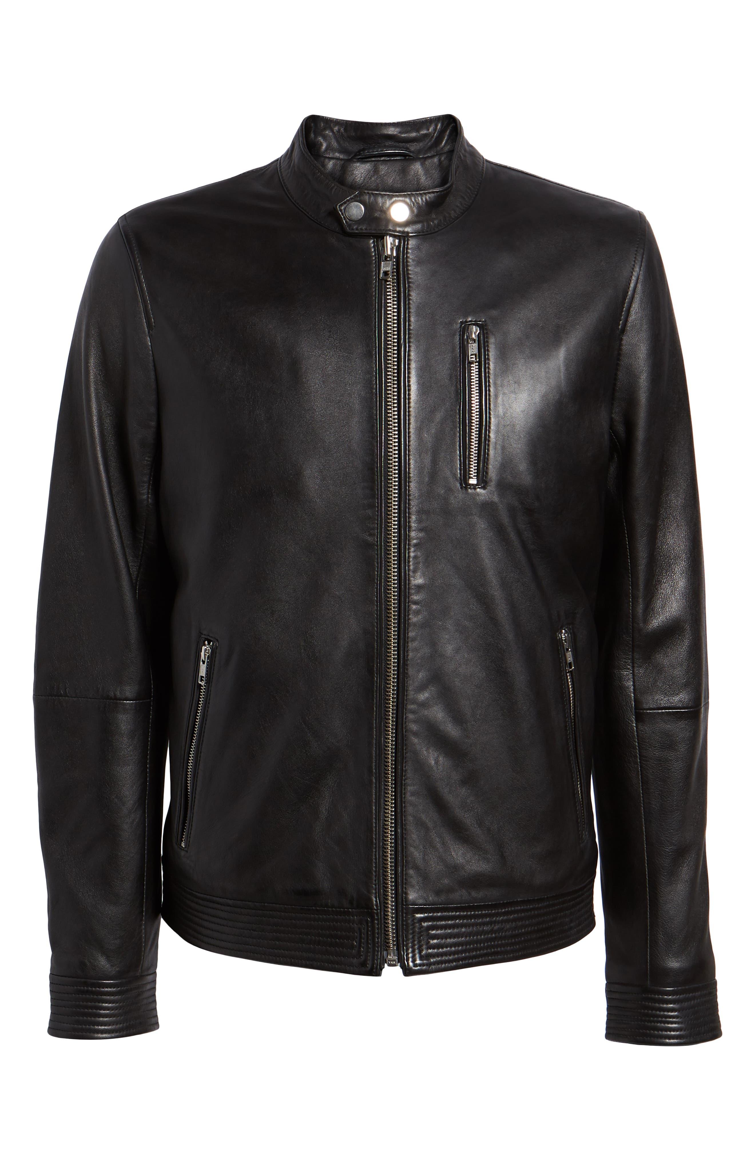 ,                             Leather Racer Jacket,                             Alternate thumbnail 6, color,                             BLACK