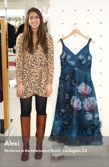 Embellished Floral Print Organza Midi Dress, sales video thumbnail