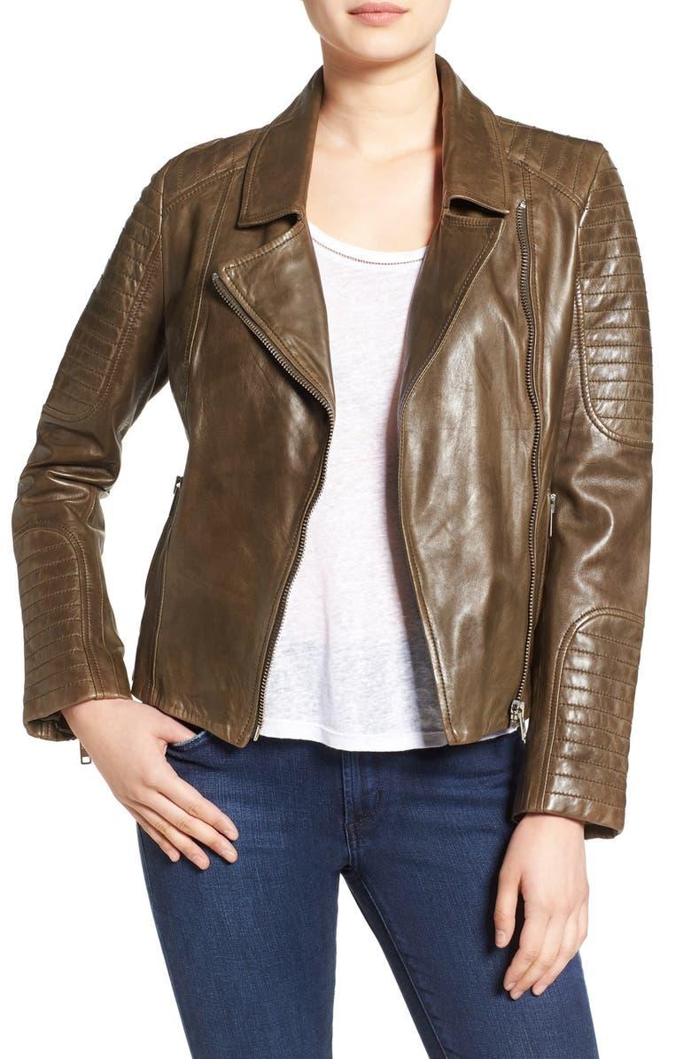 BB DAKOTA 'Heely' Leather Moto Jacket, Main, color, 360