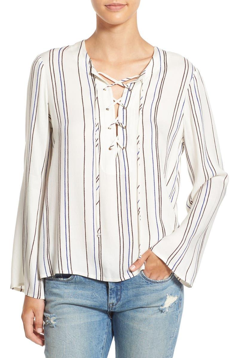 WAYF Lace-Up Stripe Blouse, Main, color, 900