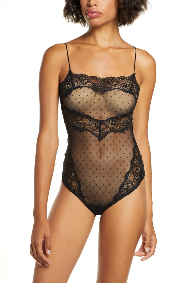 FREE PEOPLE Intimately FP That Sweet Thing Thong Bodysuit, Main, color, BLACK