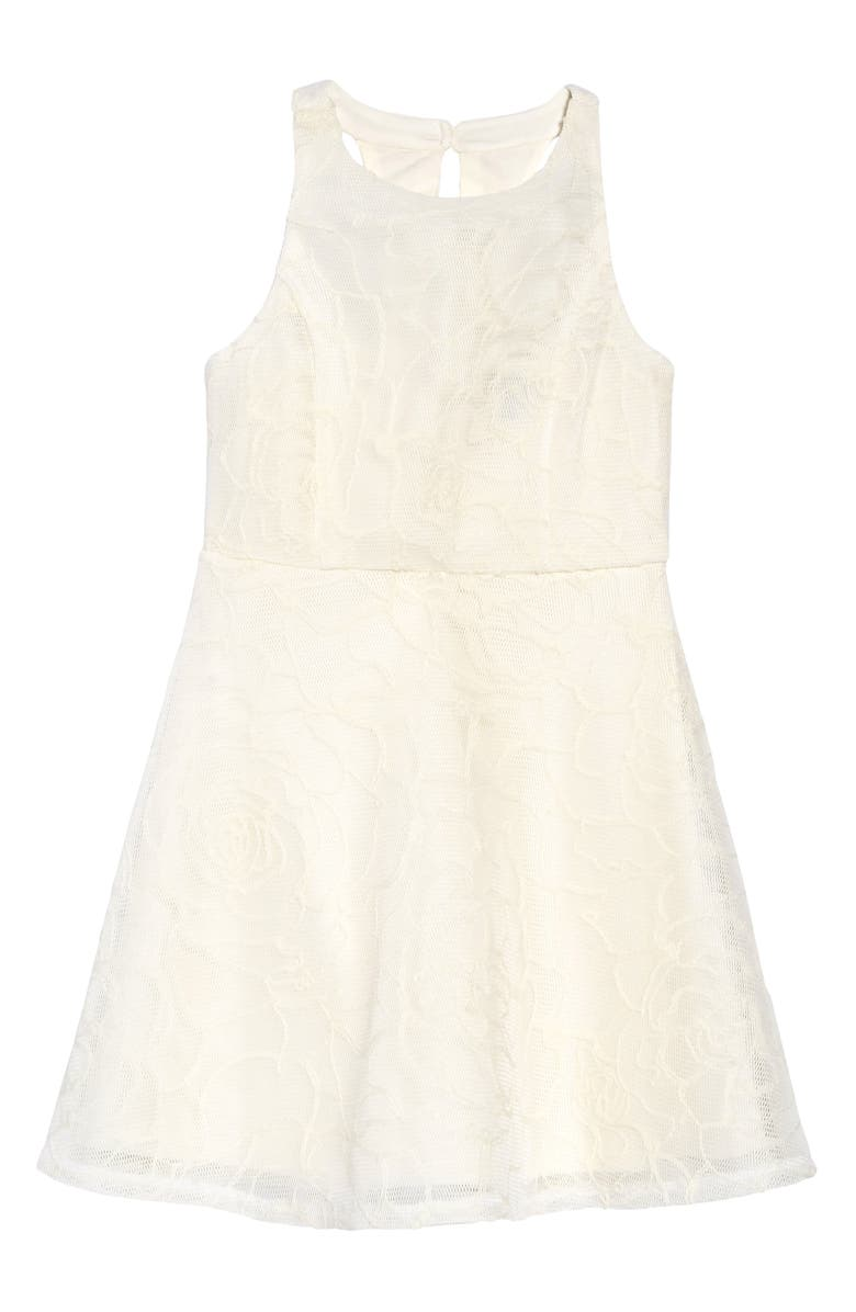 ZUNIE Rose Embroidered T-Back Dress, Main, color, WHITE