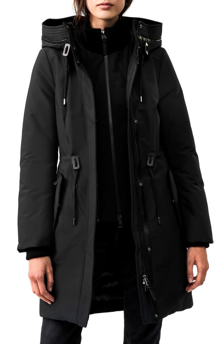 MACKAGE Beckah Powder Touch Waterproof Down Coat, Main, color, BLACK