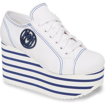 Miu Miu Platform Wedge Sneaker - White