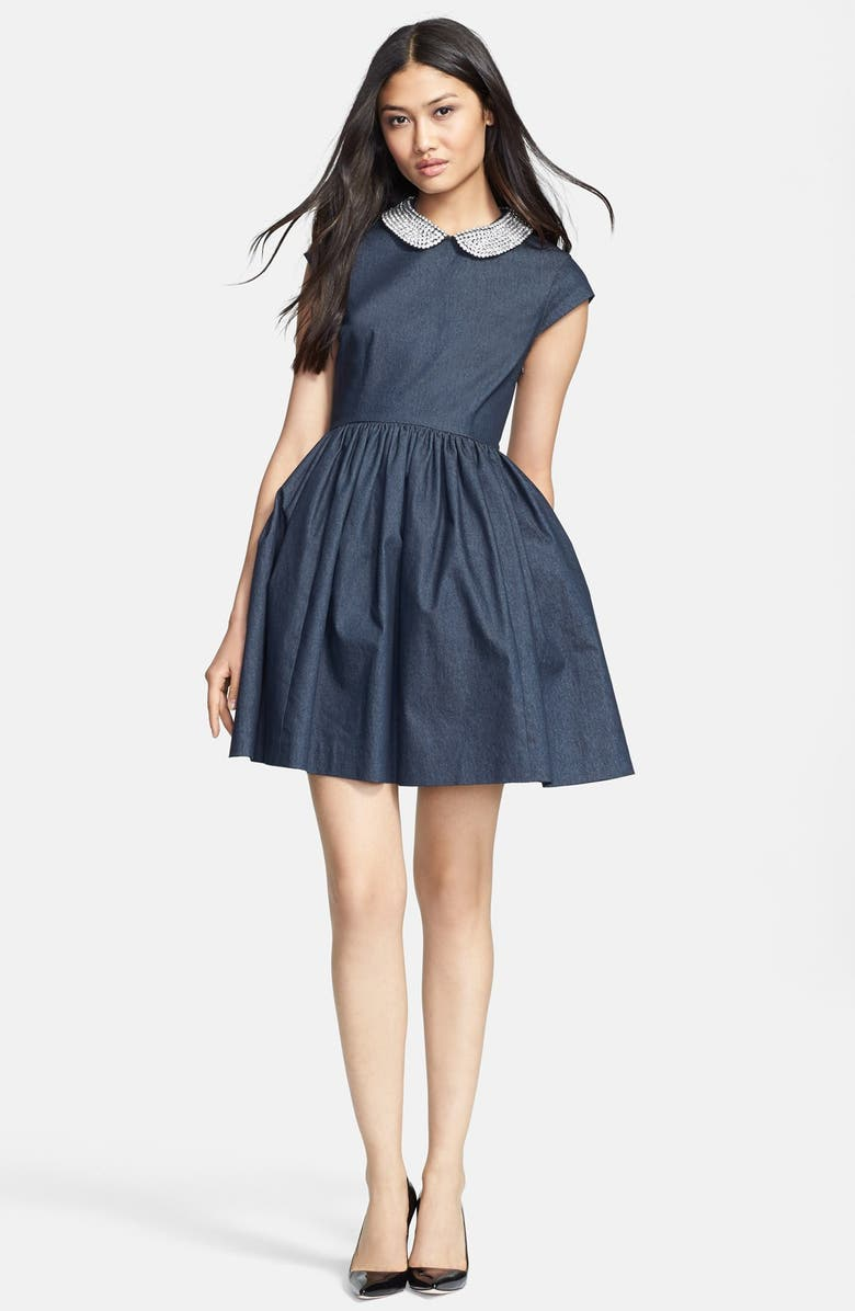 KATE SPADE NEW YORK 'kimberly' embellished denim fit & flare dress, Main, color, 406