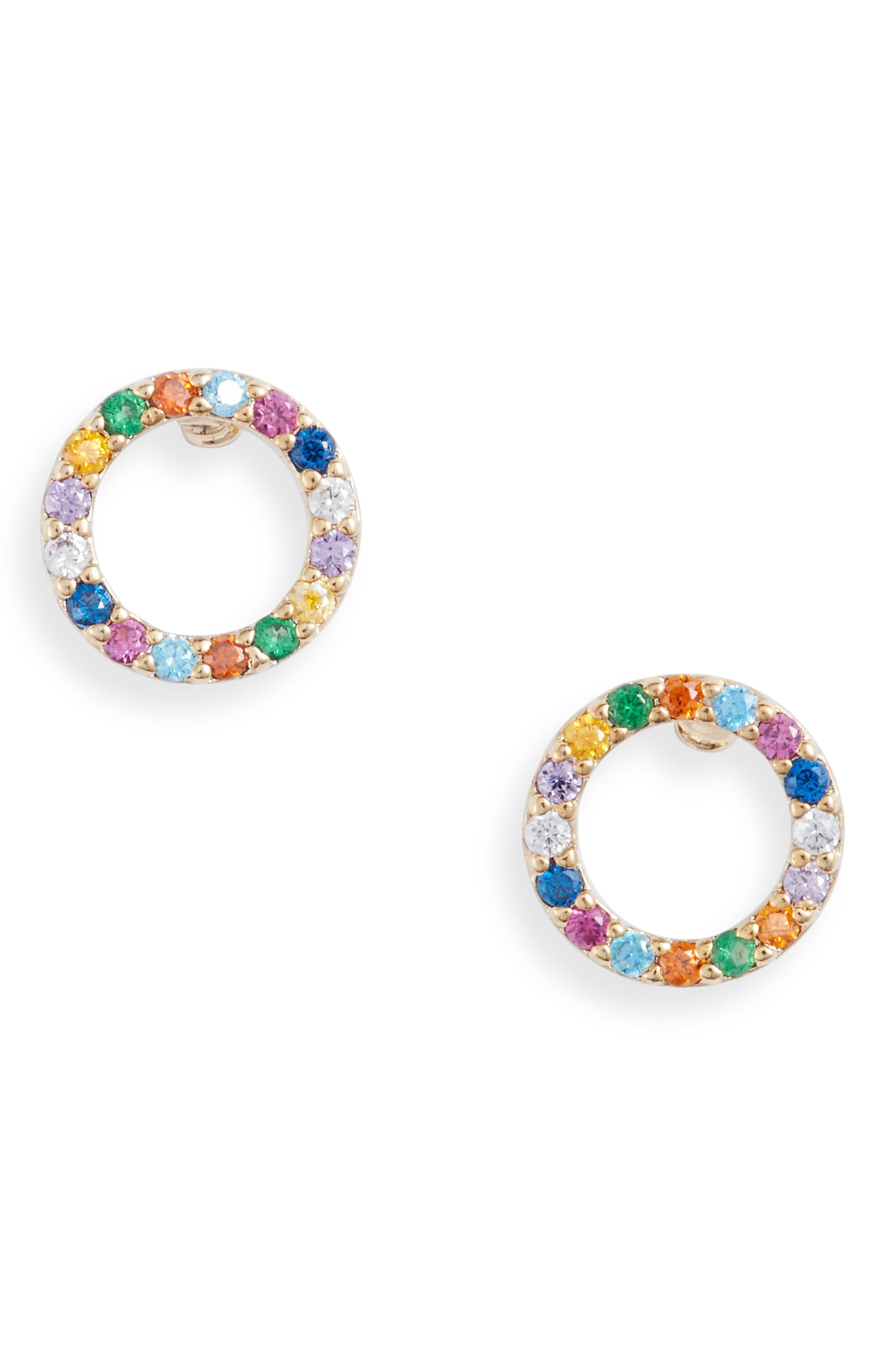 Multi Pave Circle Stud Earrings