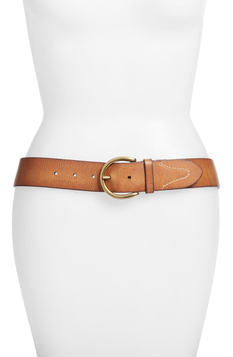 FRYE Campus Leather Belt, Main, color, TAN