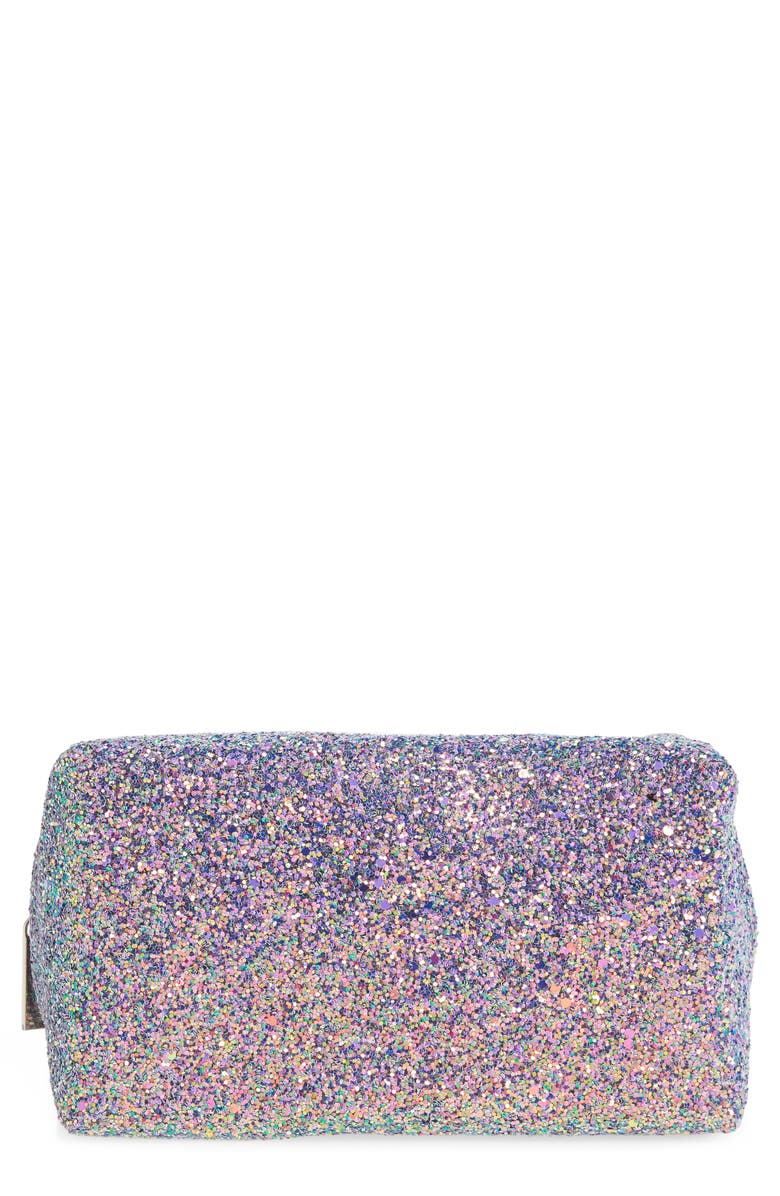 SKINNYDIP Purple Glitter Makeup Bag, Main, color, NO COLOR