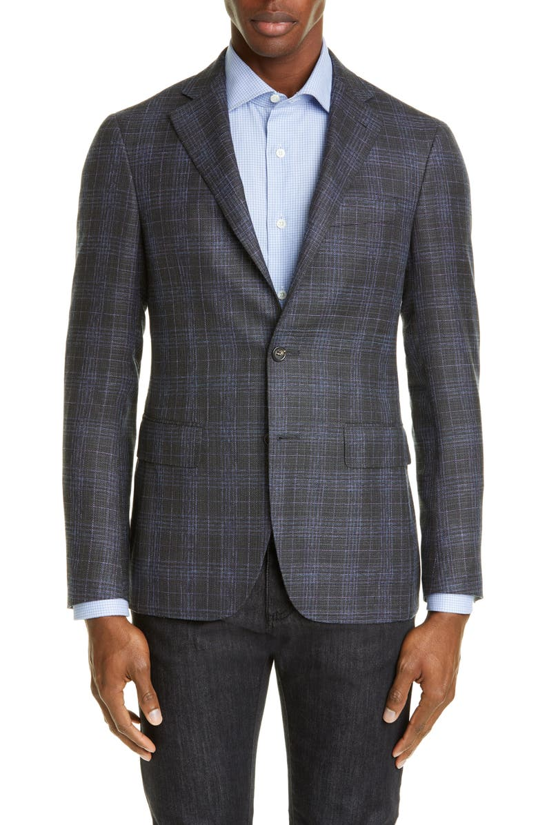 CANALI Kei Trim Fit Plaid Wool Sport Coat, Main, color, CHARCOAL