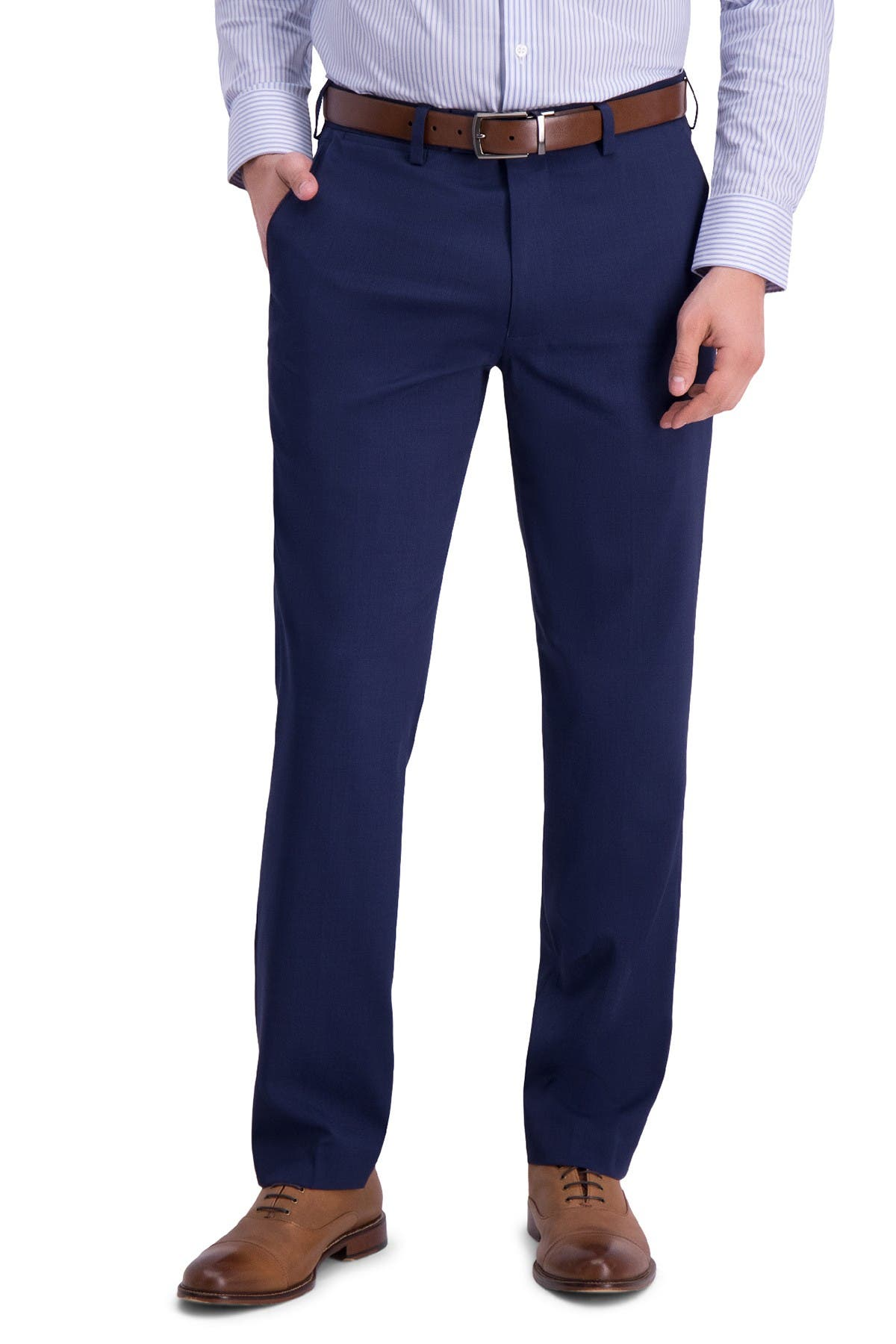 Image of Louis Raphael Micro Stripe Flat Front Slim Fit Dress Pants