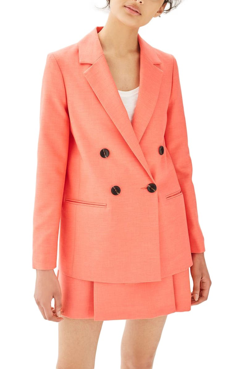 TOPSHOP Ella Double Breasted Suit Jacket, Main, color, 950