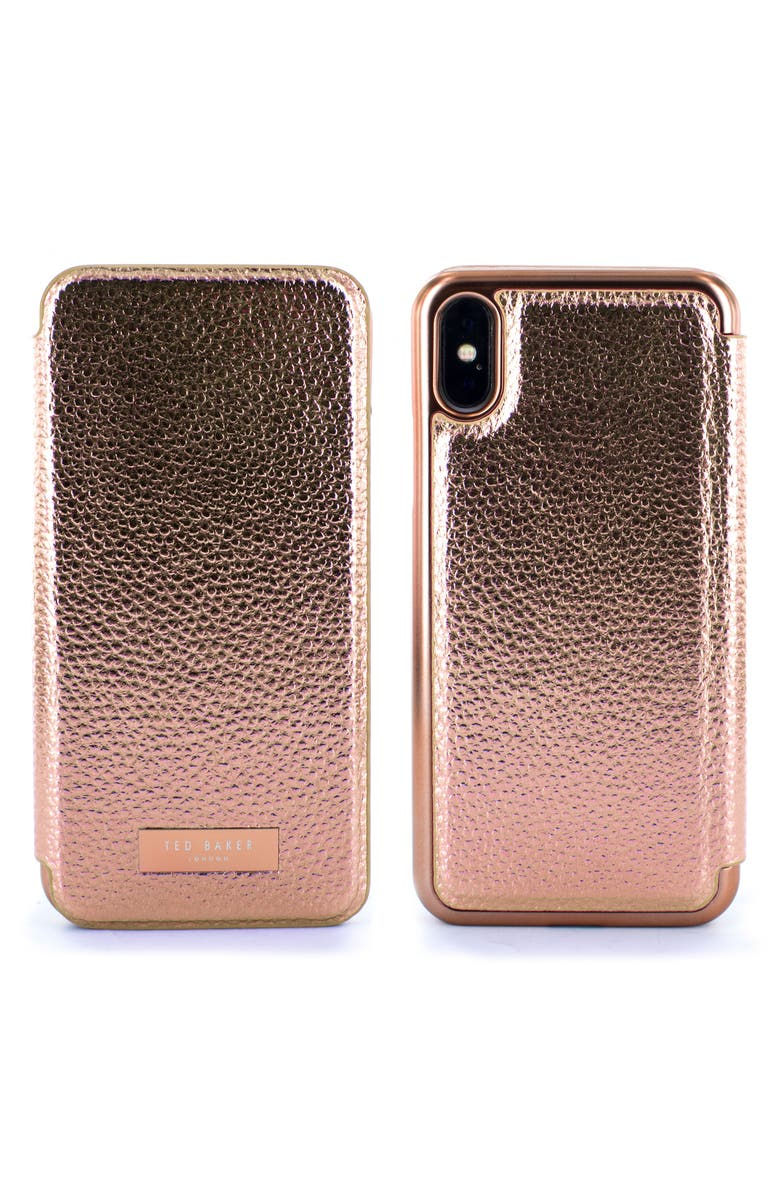 9af1b09225 Ted Baker London Fenela Faux Leather iPhone X & Xs Mirror Folio Case ...