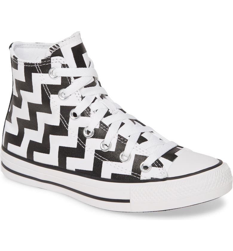 CONVERSE Chuck Taylor<sup>®</sup> All Star<sup>®</sup> Glam High Top Sneaker, Main, color, WHITE/ BLACK/ WHITE
