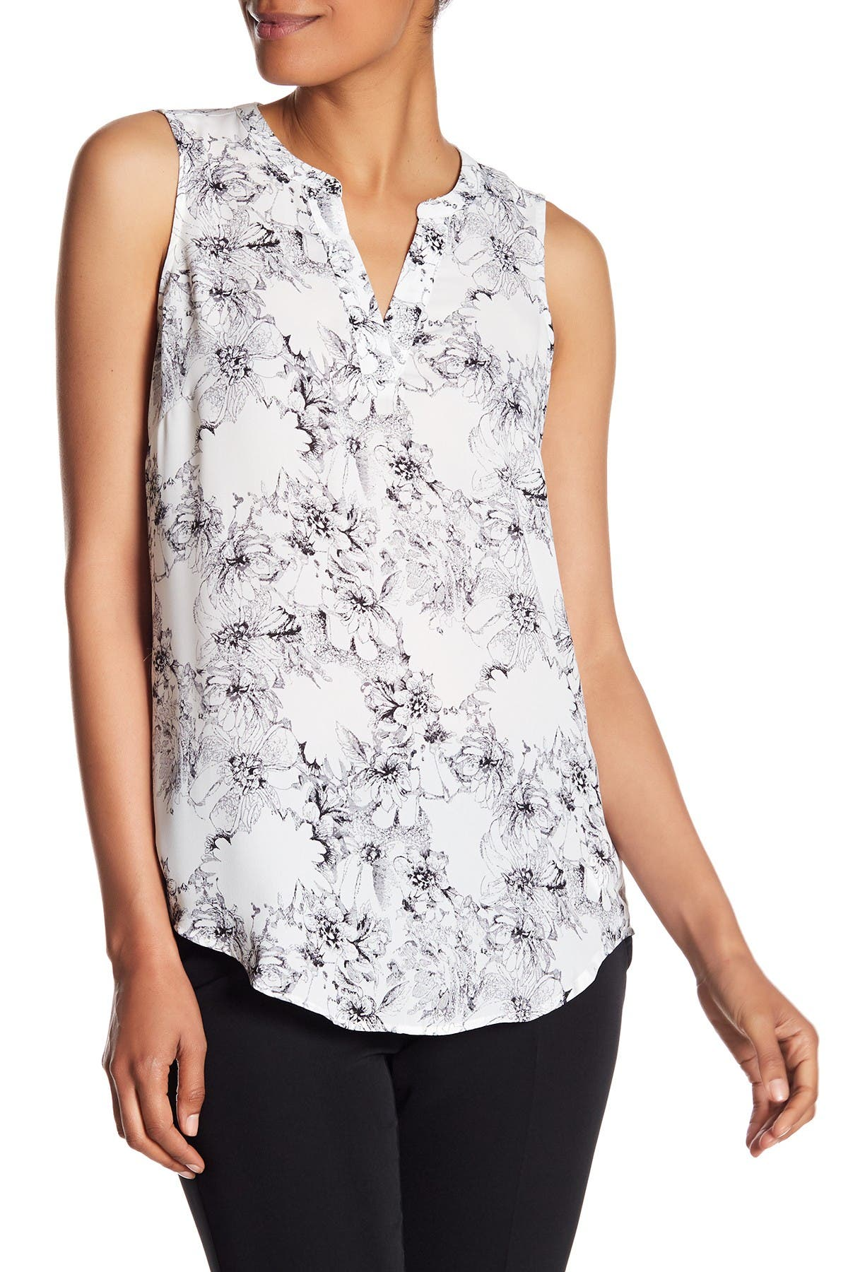 Image of Adrianna Papell Sleeveless Split Neck Crepe Blouse