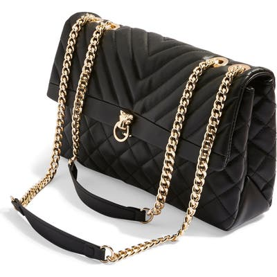 Topshop Panther Quilted Faux Leather Shoulder Bag -