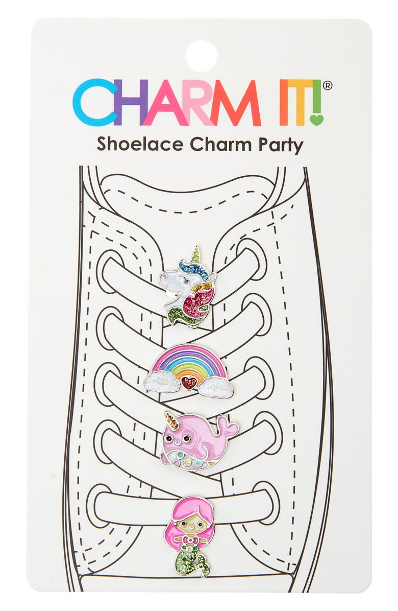 CHARM IT!<SUP>®</SUP> 4-Pack Magical Glitter Shoelace Charms, Main, color, MULTI