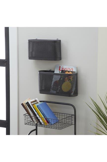 Image of Willow Row Black Perforated Metal Hanging Storage Baskets - Set of 2