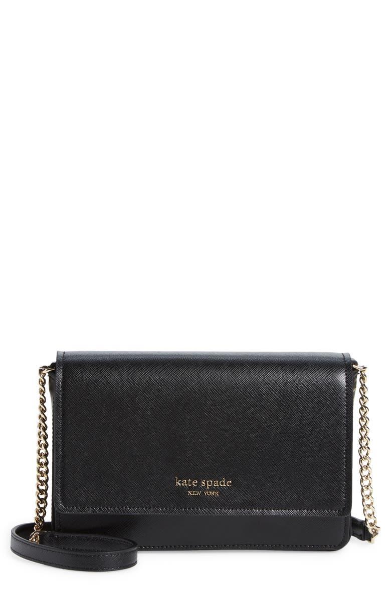 KATE SPADE NEW YORK spencer crossbody wallet, Main, color, BLACK