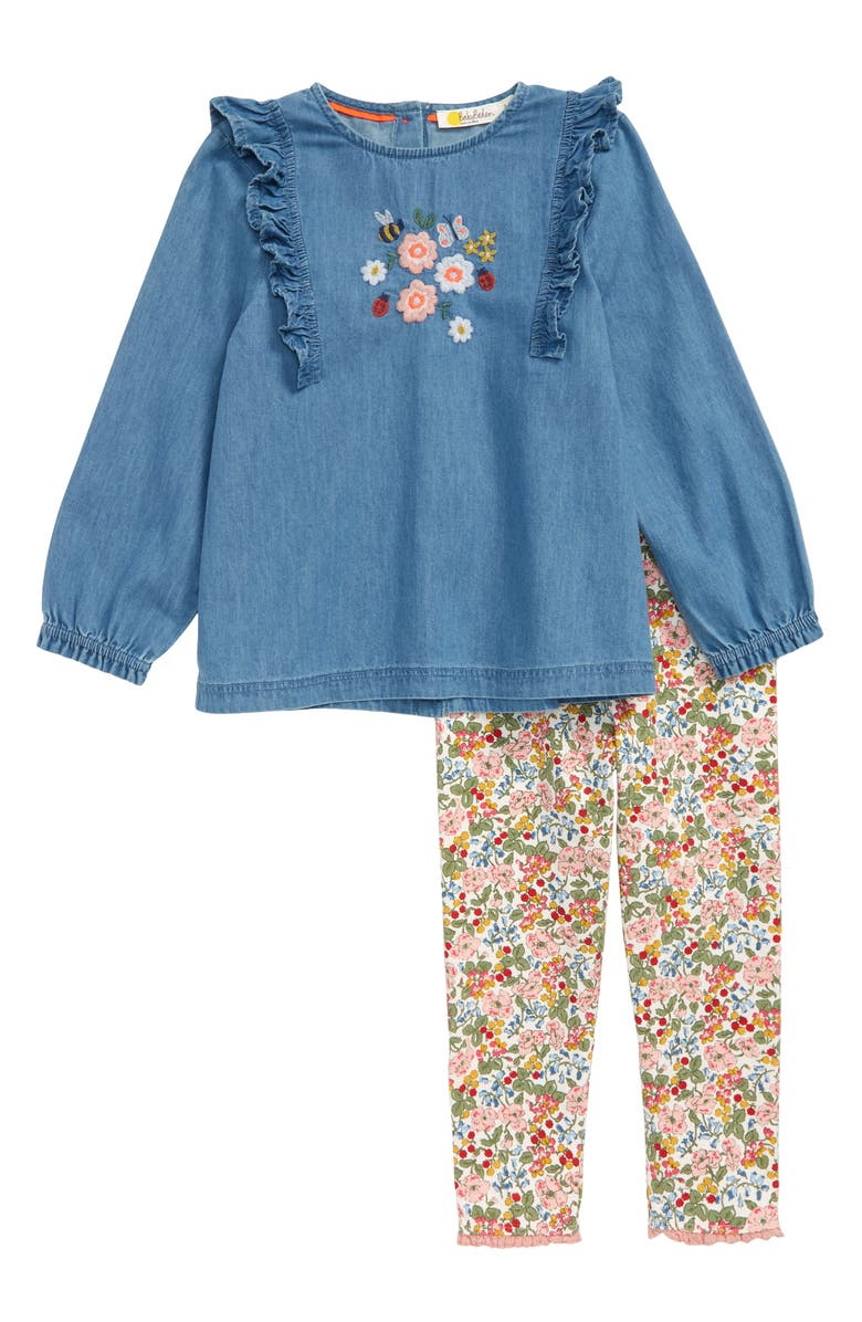 488ca8b012 Mini Boden Floral Embroidered Chambray Top & Leggings Set (Toddler ...