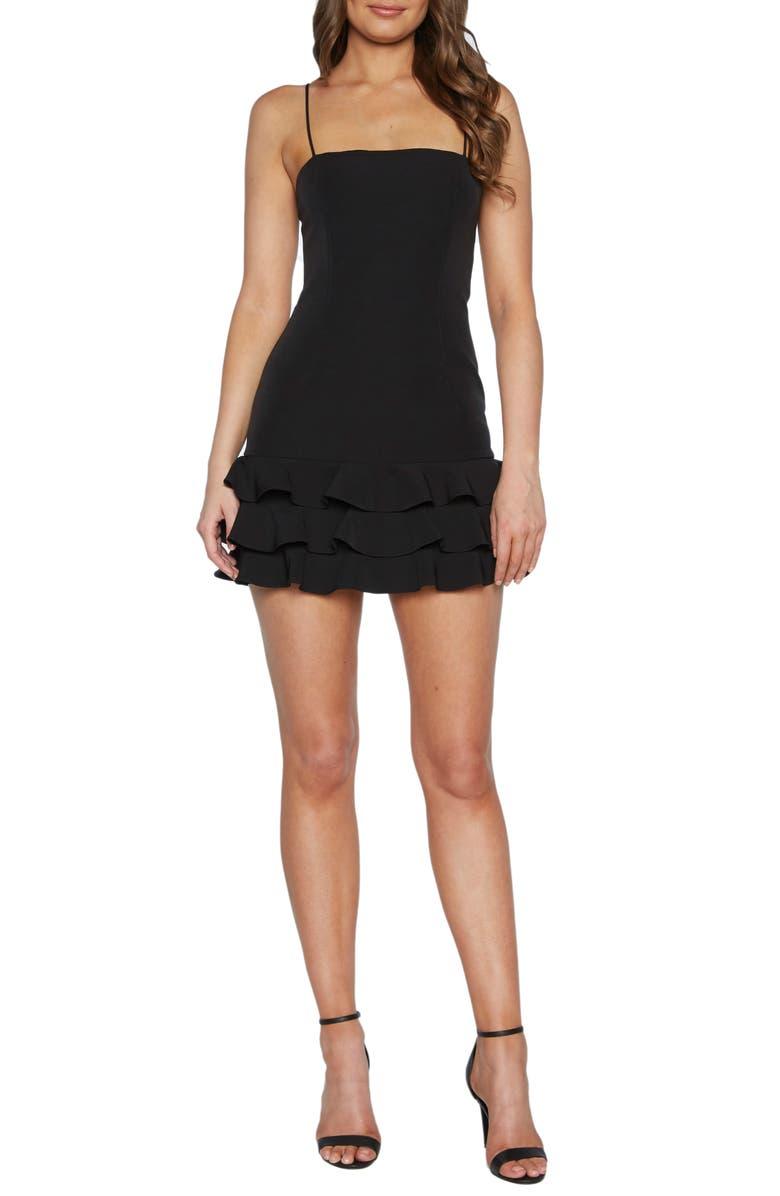 BARDOT Gianna Sleeveless Ruffle Minidress, Main, color, BLACK