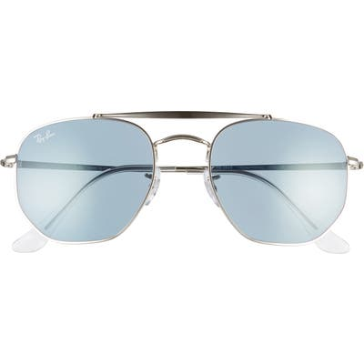 Ray-Ban Marshal 5m Aviator Sunglasses - Silver/ Azure Blue Mirror