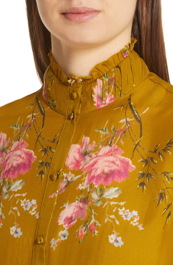af05527f9c5927 Joie Elzie Long-Sleeve Floral Silk Top In Goldenrod | ModeSens