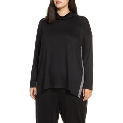 Plus Size Eileen Fisher Tencel Lyocell Blend Side Stripe Top, Black