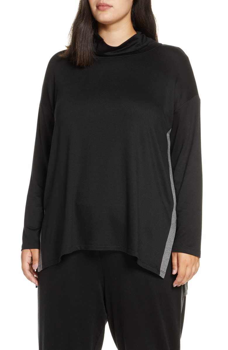 EILEEN FISHER Tencel<sup>®</sup> Lyocell Blend Side Stripe Top, Main, color, BLACK
