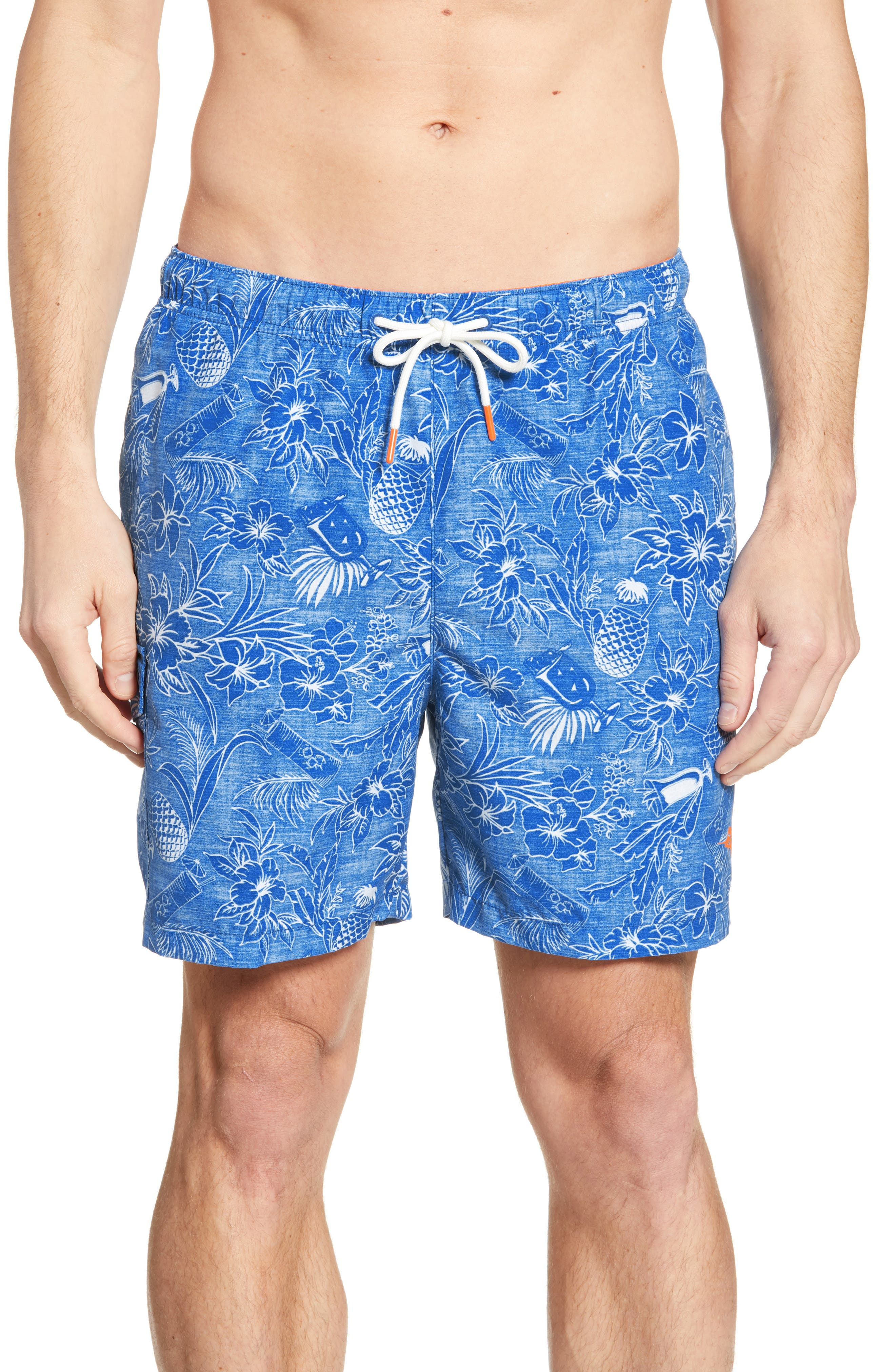Naples Tiki Luau Print Swim Trunks, Main, color, MADRAS BLUE