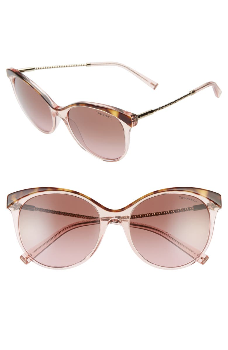 TIFFANY & CO. Diamond Point 55mm Gradient Cat Eye Sunglasses, Main, color, HAVANA/ PINK GRADIENT