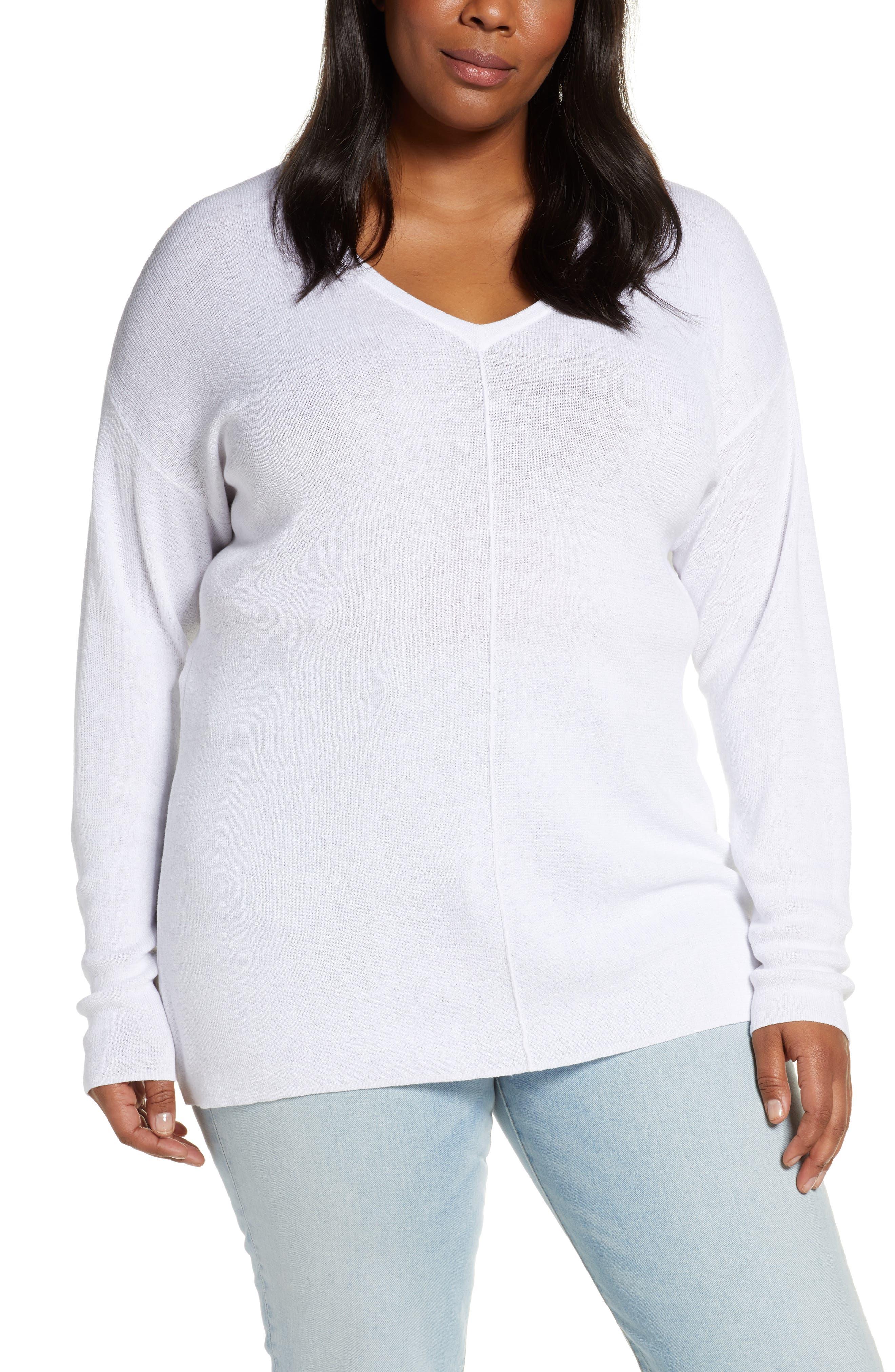 Plus Size Caslon V-Neck Linen Blend Sweater, White