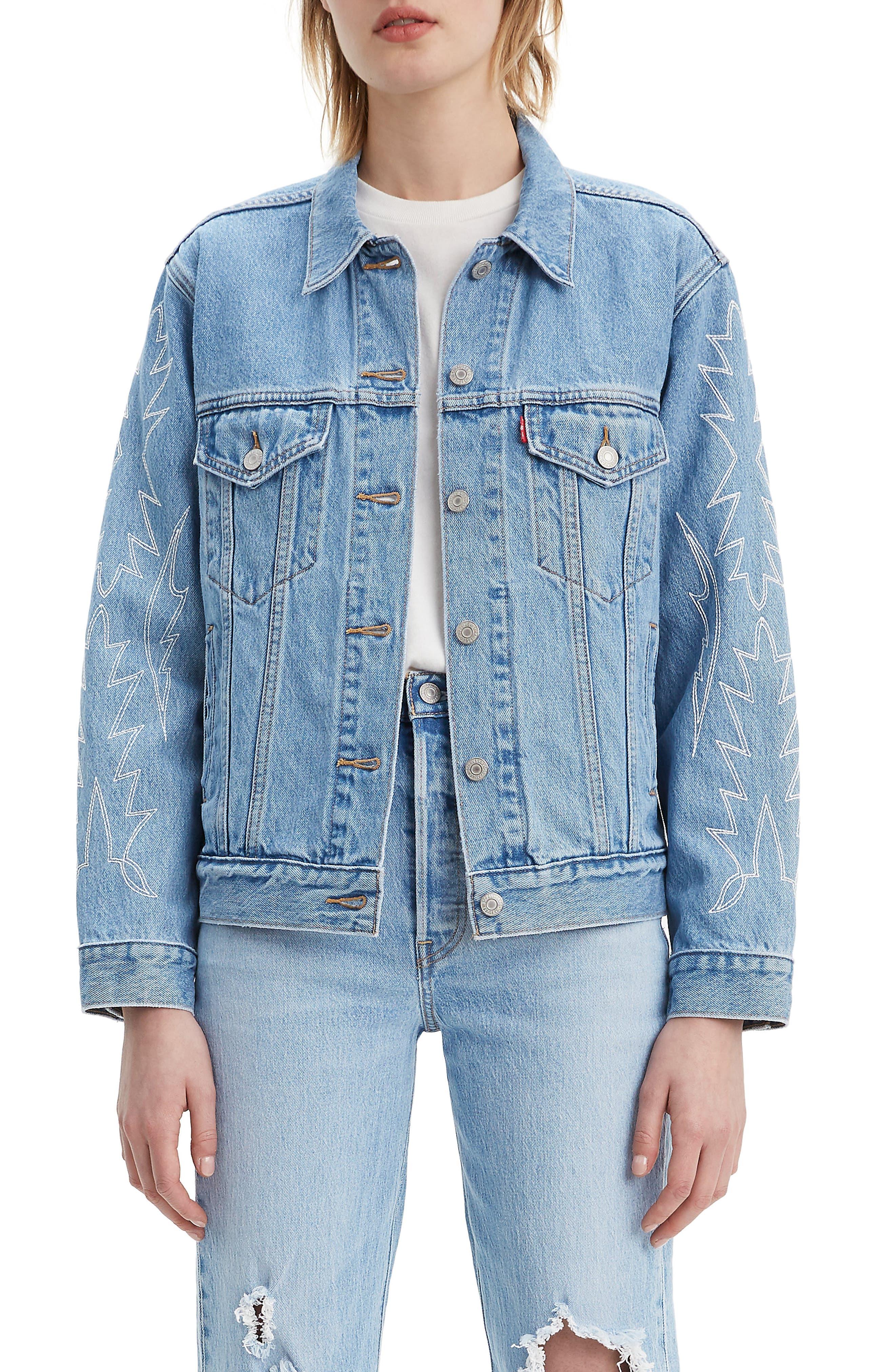 Levi's® Ex-Boyfriend Embroidered Denim Trucker Jacket