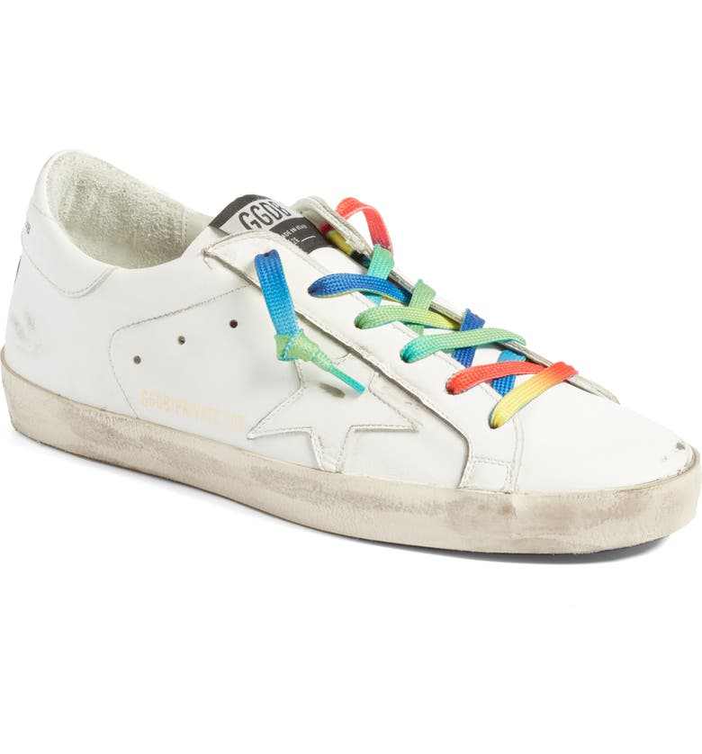 GOLDEN GOOSE Superstar Rainbow Low-Top Sneaker, Main, color, WHITE/ RAINBOW