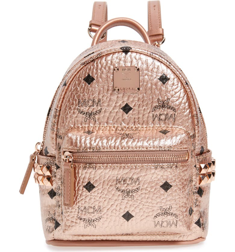 MCM X-Mini Stark Side Stud Coated Canvas Backpack, Main, color, CHAMPAGNE GOLD
