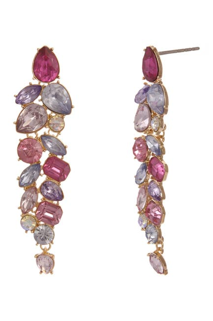 Image of Christian Siriano New York Multi Colored Stone Statement Earrings