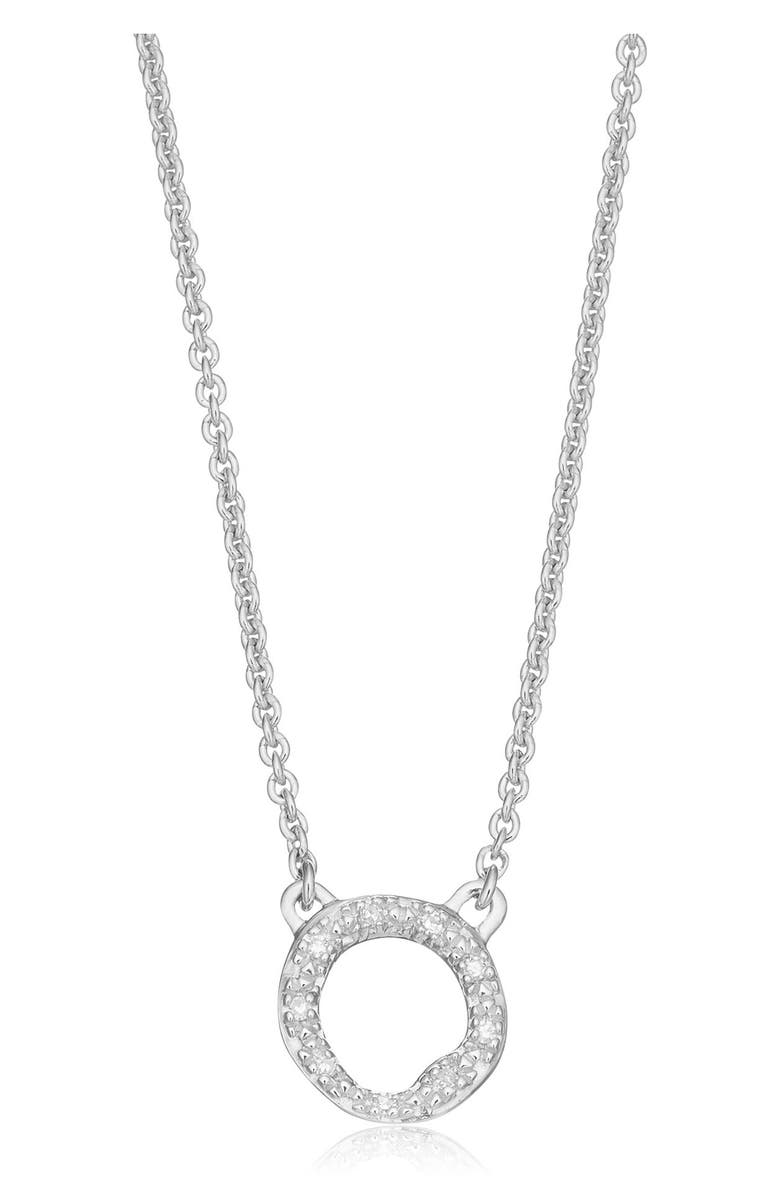 MONICA VINADER Riva Diamond Circle Pendant Necklace, Main, color, SILVER/ DIAMOND