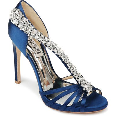 Badgley Mischka Emma Crystal Strap Sandal- Blue
