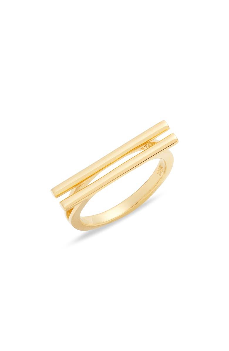 ARGENTO VIVO Double Bar Ring, Main, color, GOLD