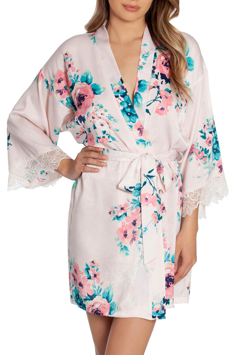 IN BLOOM BY JONQUIL Vision Floral Satin Wrap, Main, color, PEACH FLORAL