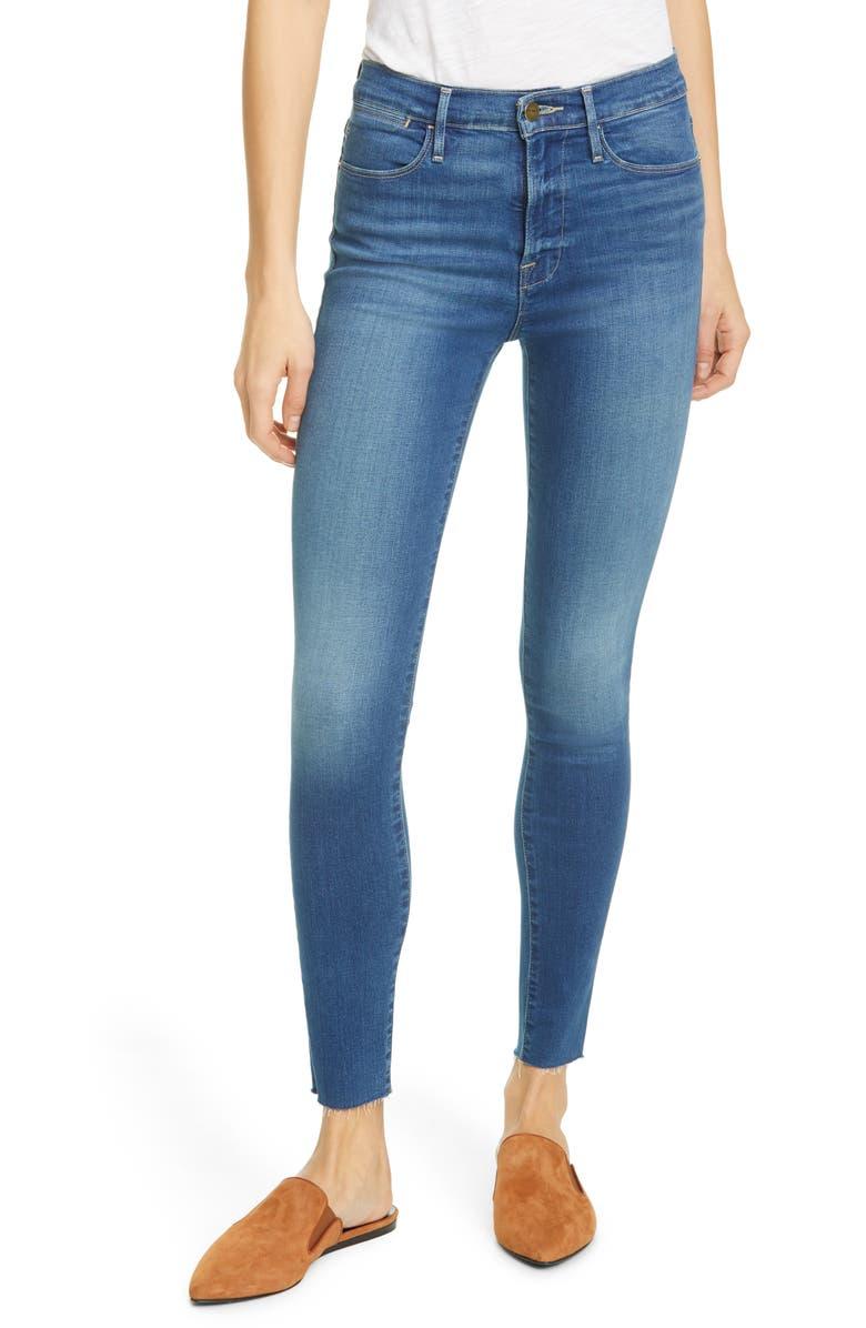 FRAME Le High Raw Hem Ankle Skinny Jeans, Main, color, 401