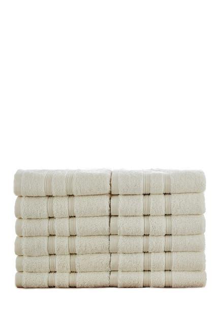 Image of Modern Threads Manor Ridge Turkish Cotton 700 GSM Wash Cloth - Set of 12 - Ivory
