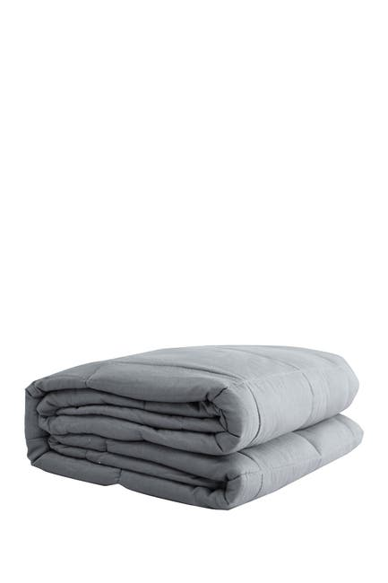 "Image of PUR SERENITY 20 lbs Cotton Weighted Blanket 48""x 72""- Silver Grey"