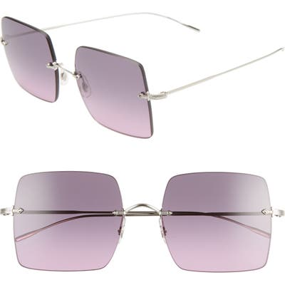Oliver Peoples Oishe 57Mm Gradient Rimless Square Sunglasses - Silver/ Iris Gradient