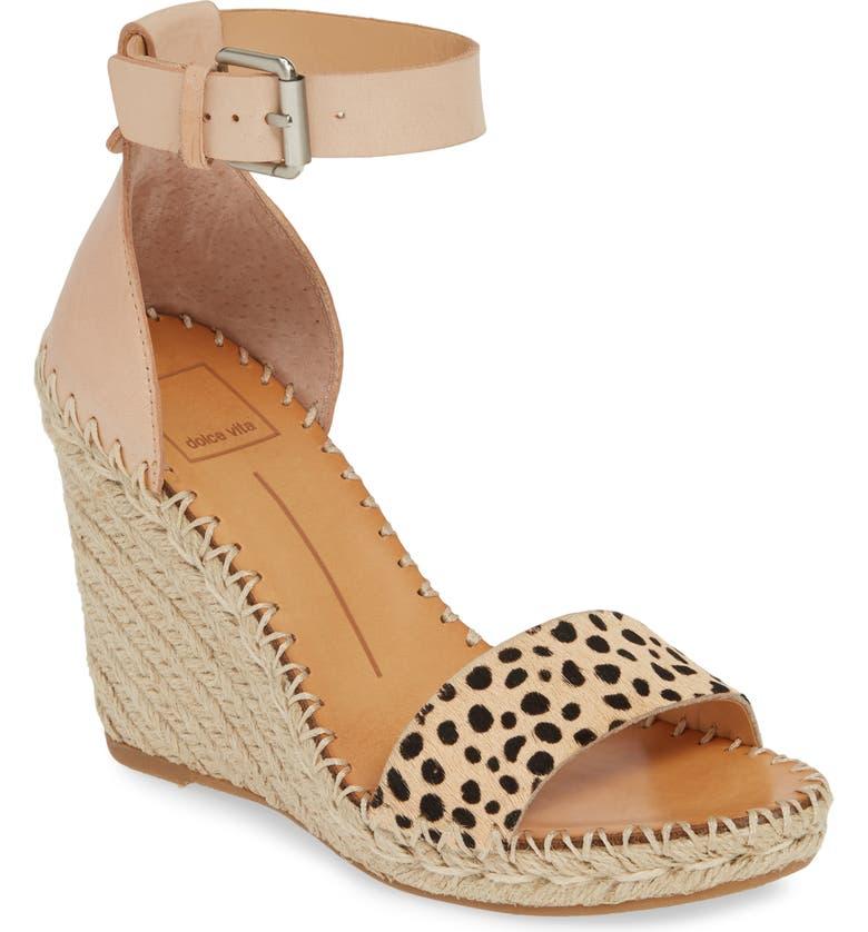 DOLCE VITA Noor Espadrille Wedge Sandal, Main, color, LEOPARD PRINT CALF HAIR