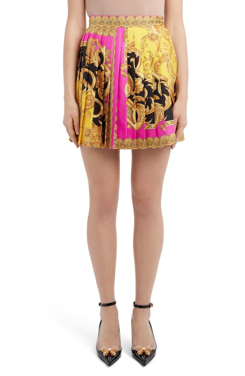 VERSACE Barco Print Pleated Silk Miniskirt, Main, color, FUCHSIA